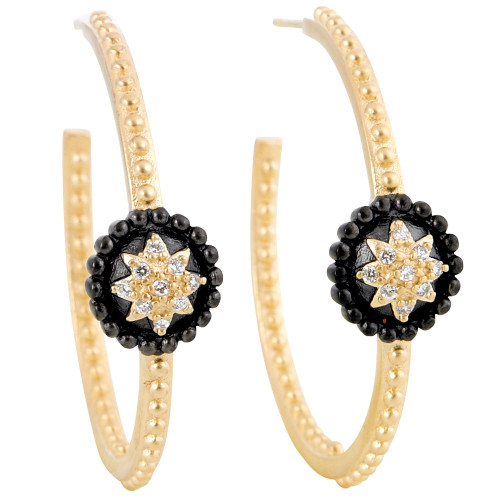 Freida Rothman's Two Tone Medallion Shield Earrings
