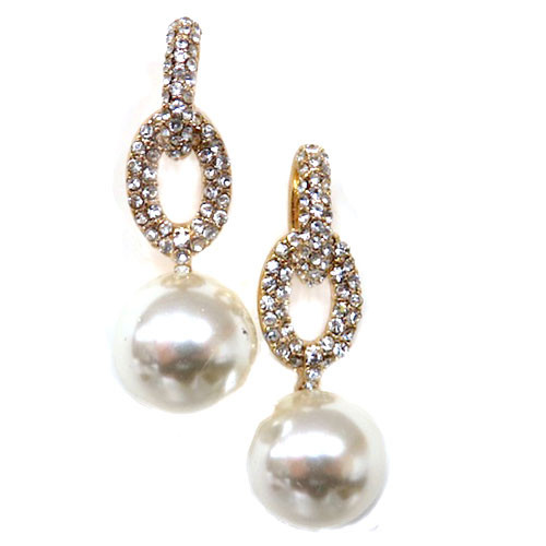 Elegant Pearl and Crystal Doorknocker Earring