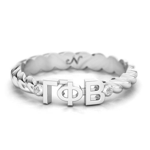 Gamma Phi Beta Silver Pav© Twist Letter Ring