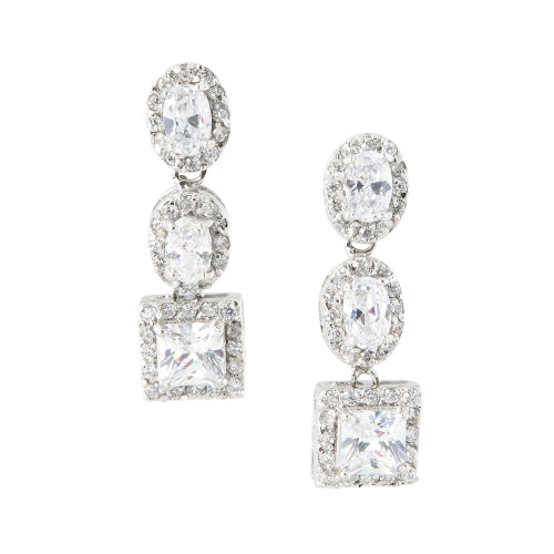 Oval, Oval, Square C.Z. Earring