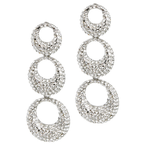 Pave Crystal Concentric Circles Earring