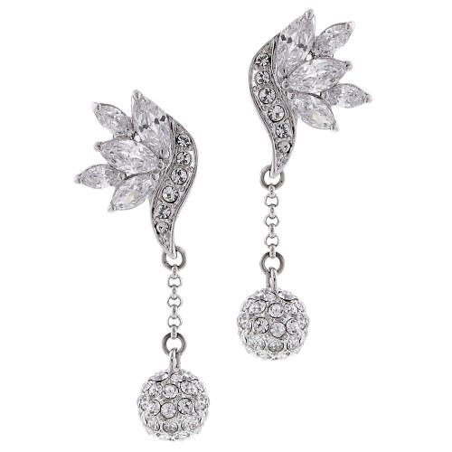 Leaf with Chain and Pave Ball Drop Earring