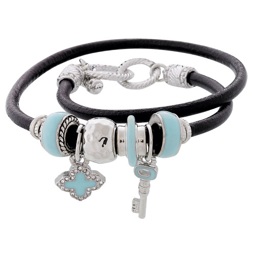 Leather Wrap Charm Bracelet
