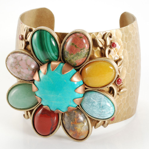 Southwest Gemstone Daisy Cuff