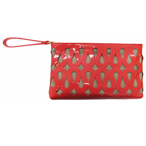 Coral Patent Perforated Clutch