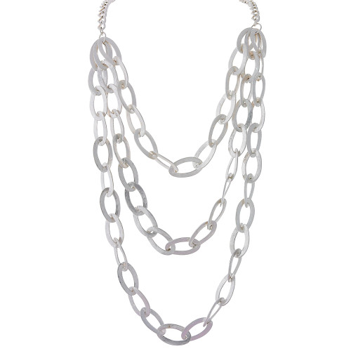 Textured Bib Necklace Silver