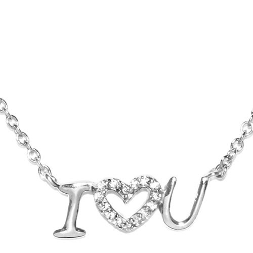 """I heart you"" Horizontal Cubic Zirconia Necklace"