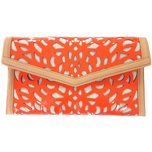 Sondra Roberts' Orange Patent Laser-Cut Clutch