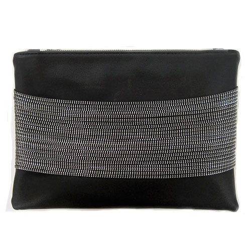 Sondra Robert's Zipper Chain Detailed Nappa Clutch