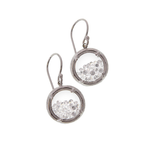 Small Glass Encased Crystals Earrings