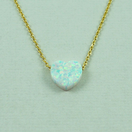 White Resin Opal Heart Necklace