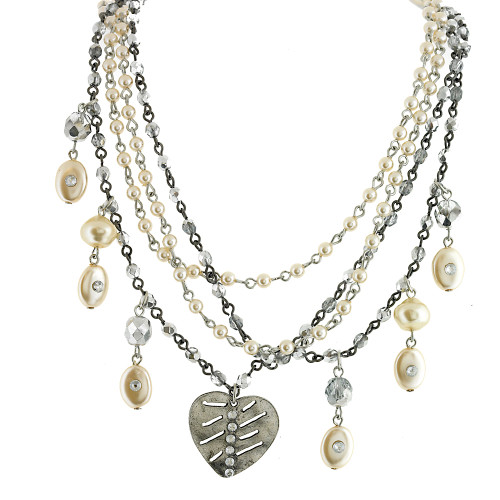 Multi-Chain Silver and Pearl Necklace
