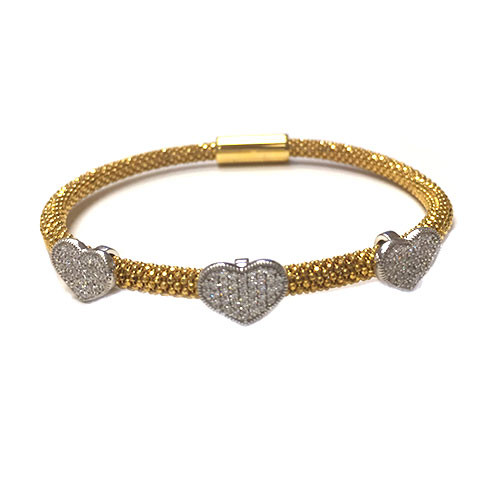Triple Pave Heart On Mesh Bracelet