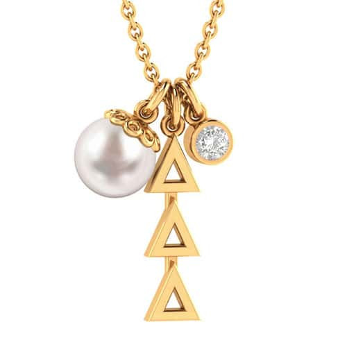 Delta Delta Delta Gold Triple Charm Necklace