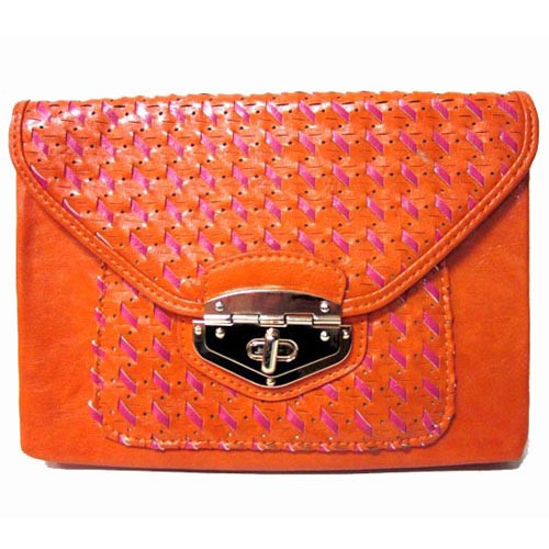 Orange/Pink Woven Envelope Clutch