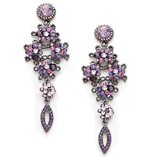 Tanzanite and Light Amethyst Floral Brilliance Earring