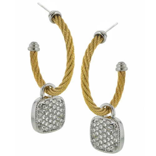 Twisted Gold Hoop with Pave Charm