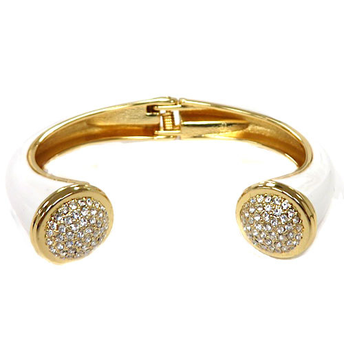 Pave Tip White Open Bangle