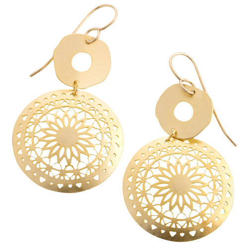 Flower Medallion Shield Earring