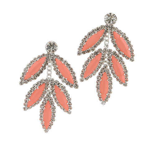 Five Leaf Earring Coral