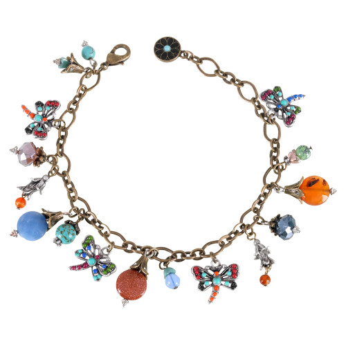 Gems and Dragonflies Charm Bracelet