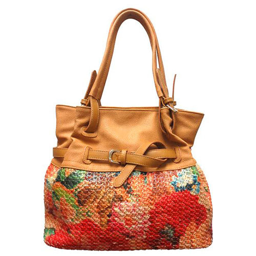Sondra Robert's Floral Raffia Nappa Shoulder Bag