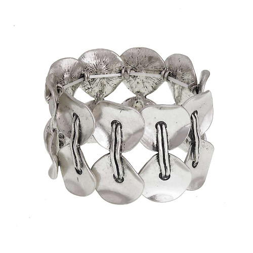 Linked Silver Wafer Cuff