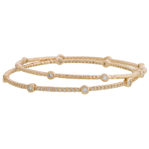 Freida Rothman's Soho Bezel Bangle Set 14K Gold Vermeil