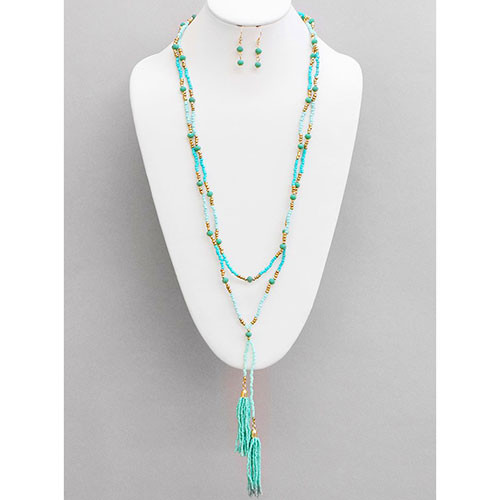 Turquoise Beaded Double Strand Tassel Necklace