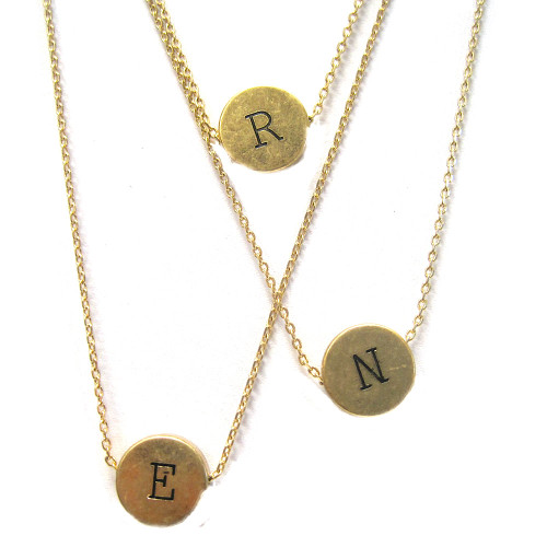 Antiqued Gold Vintage Typewriter Key Initial Necklace