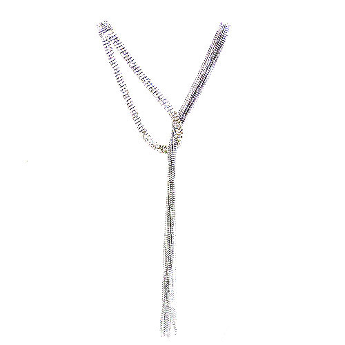 Rhodium Silver and Crystal Lariat