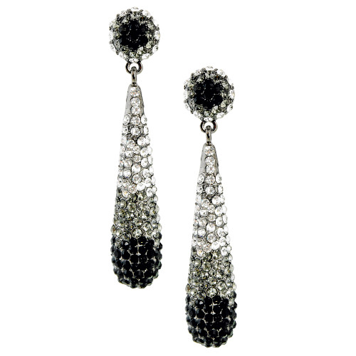 Pave Teardrop Earring Black