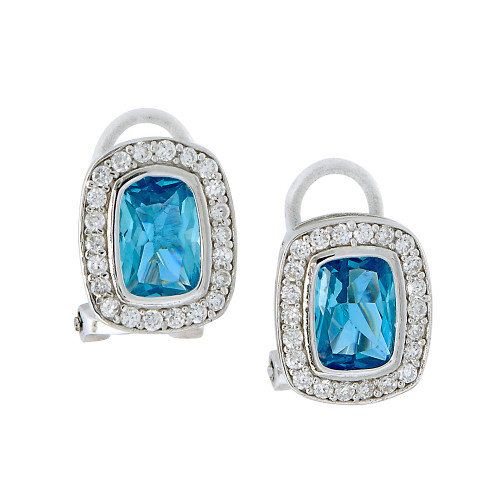 Aquamarine C.Z. Emerald Cut Earrings