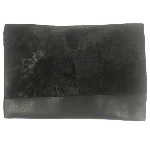 Black Hair Calf And Leather Folder Over Clutch