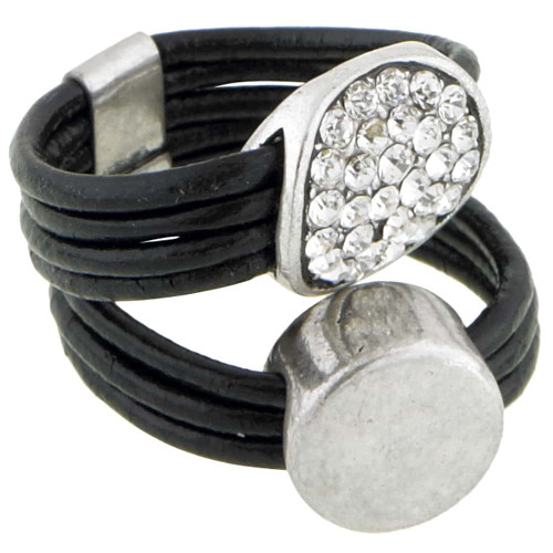Two Circles Leather Ring