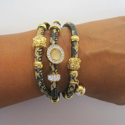 Triple Python Leather Charm Bracelet