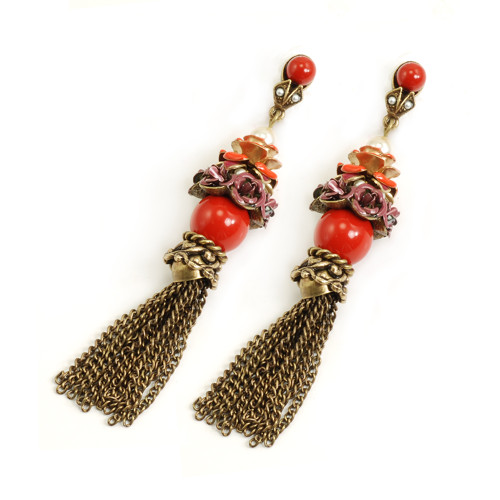Red Roses and Tassels Earring