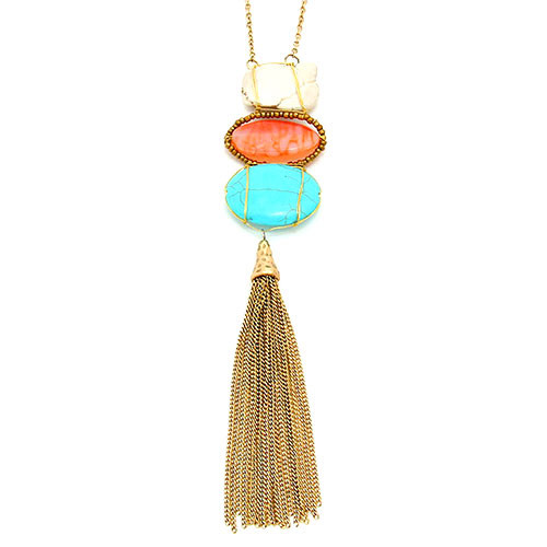 Long Triple Stone and Tassel Necklace Coral
