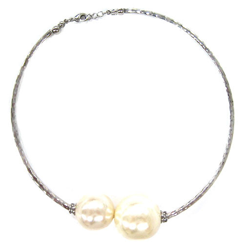 Large Silver and Pearl Bauble Collar