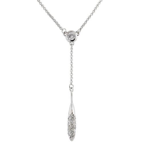 Smaller Version of Bezel Set Solitaire and Pave Elongated Dangle