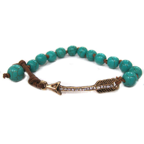 Antiqued Arrow and Turquoise Bracelet