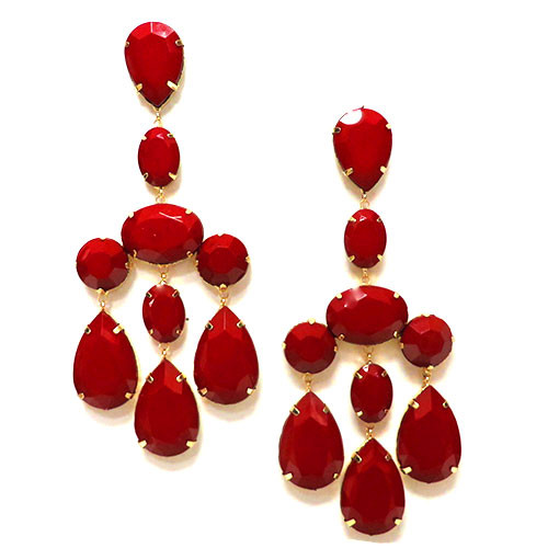 Large Red Stone Earrings