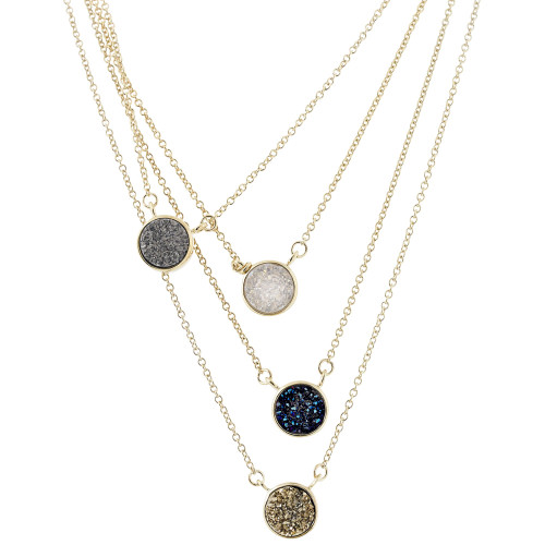 Druzy Gemstone Round Necklace