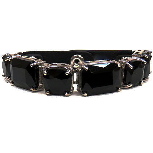 Large Jet Crystal and Leather Bracelet