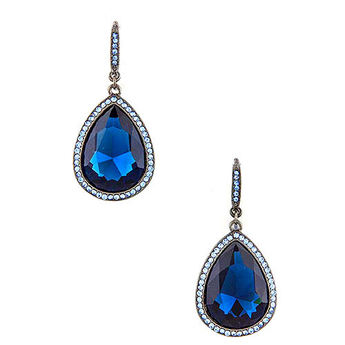 Saturated Blue Pear-Shaped Drop Earrings