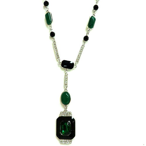 Deco Emerald Pendant Necklace