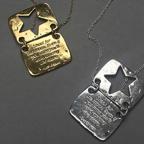 Love Note Star Shaped Necklace in Silver and Gold