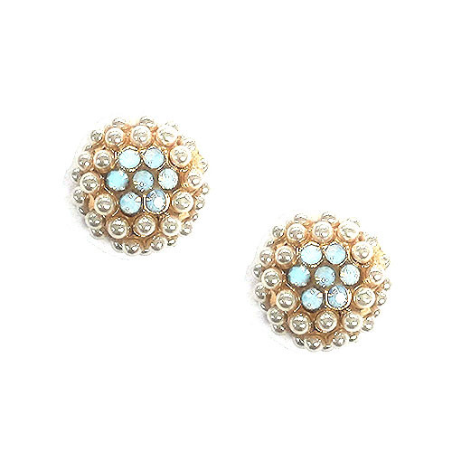 Seed Pearl Cluster Dome with Crystal Flower Earring
