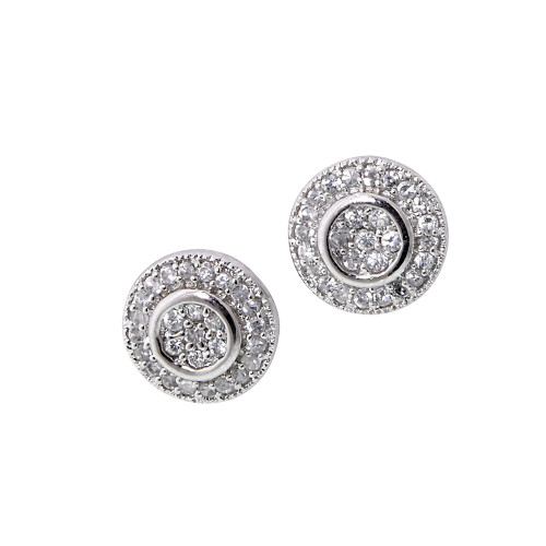 Cubic Zirconia Circle Button