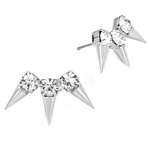 Silver Triple Spike Trio Earring
